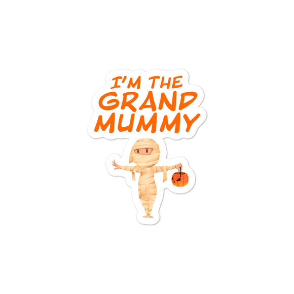 Matching Family Halloween Grandma graphic I'm The Grand Mummy Bubble-free stickers
