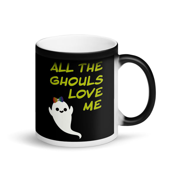 LGBT Lesbian Halloween All The Ghouls Love Me Rainbow Bow Matte Black Magic Mug