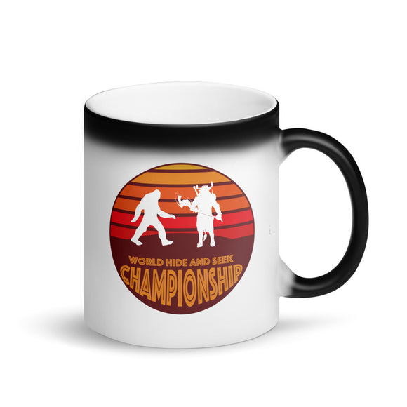 Bigfoot vs Minotaur World Hide and Seek Championship Matte Black Magic Mug