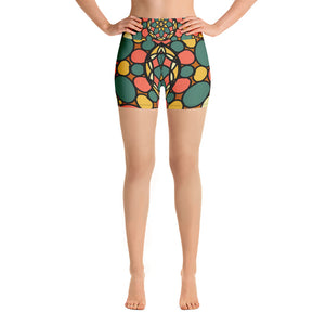 Retro Peace and Tranquility Vintage Zen Stone Garden Yoga Shorts