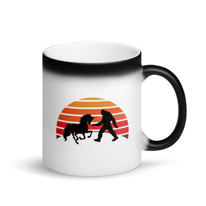 Unicorn vs Bigfoot Sasquatch Duel Retro Vintage Design Matte Black Magic Mug