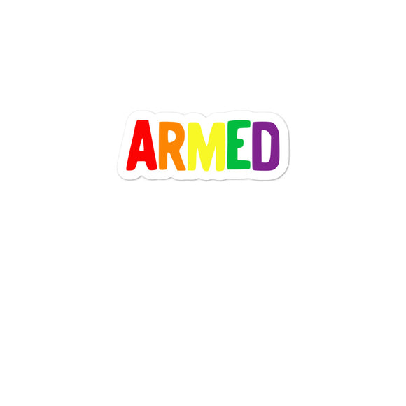 Armed Rainbow Colors Pride Self Defense 2nd Amendment LGBTQ print Bubble-free stickers