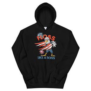 4th of July Floss Like A Boss Bald Eagle American Flag  design Unisex Hoodie