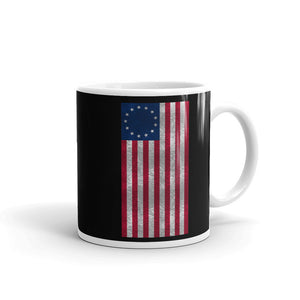 Vertical Betsy Ross Flag Distressed Grunge Style Zip product Mug