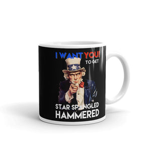 July 4th Uncle Sam I Want You To Get Star Spangled Hammered Mug