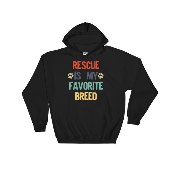 Rescued Dog Rescue Is My Favorite Breed Retro Vintage Style design Unisex Hooded Sweatshirt