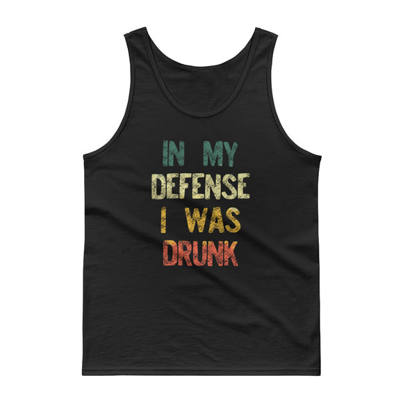 In My Defense I Was Drunk Funny Vintage Retro Style graphic Tank top