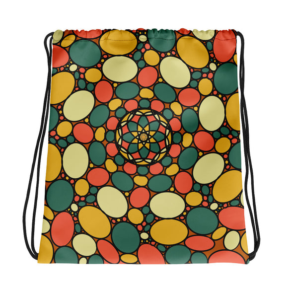 Retro Peace and Tranquility Vintage Zen Stone Garden Drawstring bag