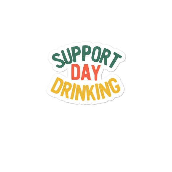 Support Day Drinking Vintage 70s 80s Retro Style Funny graphic Bubble-free stickers