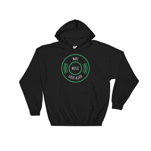 Make Music Great Again Bright Green Vinyl Record Retro Style design Unisex Hooded Sweatshirt
