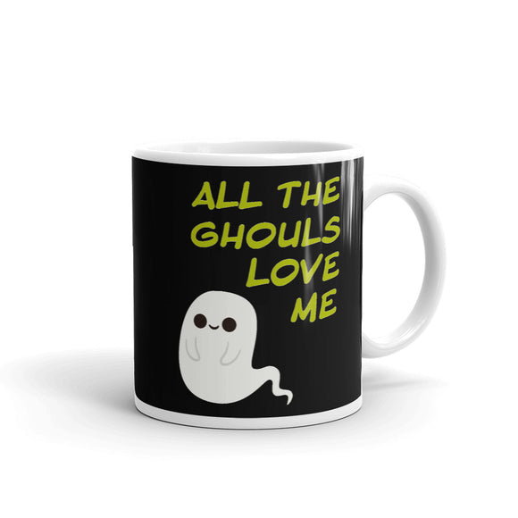 All the Ghouls Love Me LGBT Halloween Rainbow Tie on a Ghost Mug