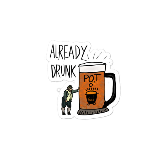 Funny Drinking design with Drunk Leprechaun and Glass Of Beer Bubble-free stickers