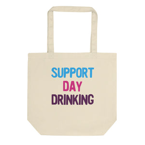 Support Day Drinking Vintage Retro 80s and 90s Style Party product Eco Tote Bag