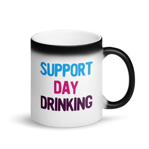 Support Day Drinking Vintage Retro 80s and 90s Style Party product Matte Black Magic Mug