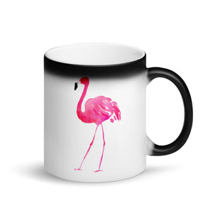 Pink Flamingo Watercolor Graphic design Matte Black Magic Mug