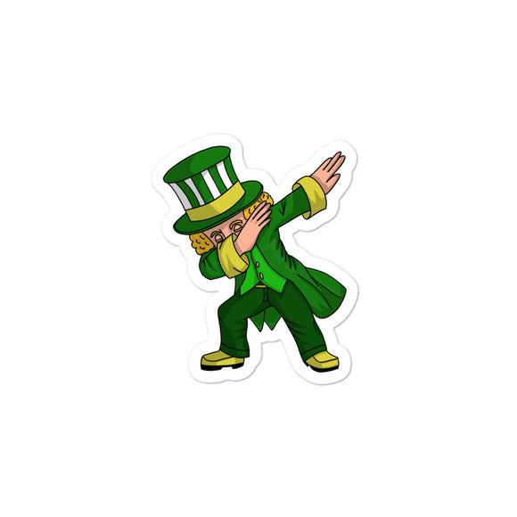 Boys St Patricks Day design Dabbing Leprechaun Green graphic Men Bubble-free stickers