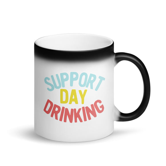 Support Day Drinking Vintage 90s Style Retro Funny Phrase product Matte Black Magic Mug