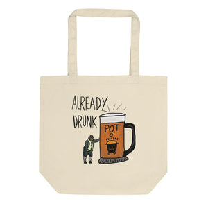 Funny Drinking design with Drunk Leprechaun and Glass Of Beer Eco Tote Bag
