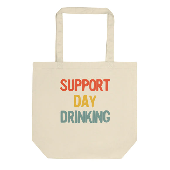 Support Day Drinking Vintage Retro 70s 80s Style Party print Eco Tote Bag