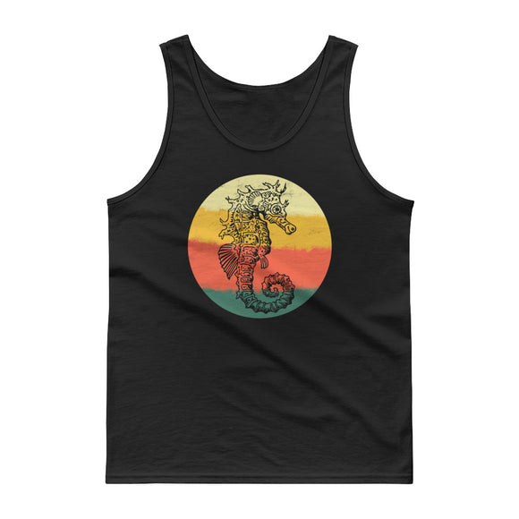Retro Sea Horse Hand Drawn Graphic Vintage Style print Tank top