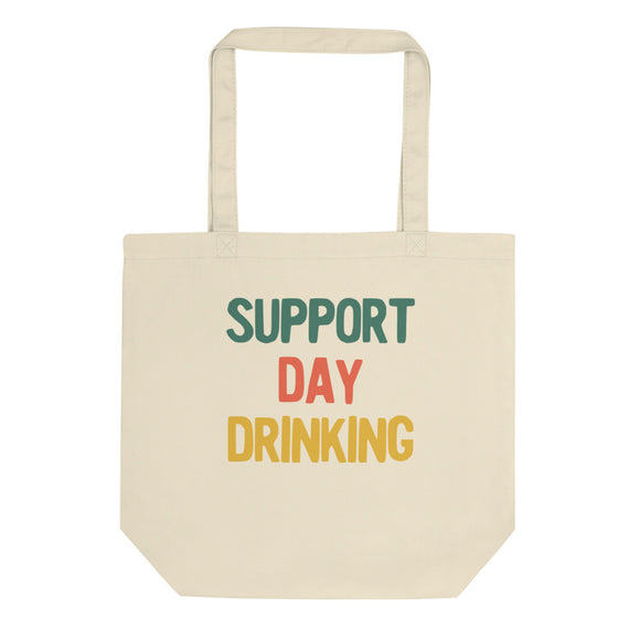 Support Day Drinking White Funny Retro Style Design product Eco Tote Bag