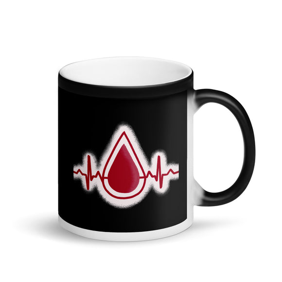 Blood Donation Give Life Heartbeat EKG Graphic print Matte Black Magic Mug