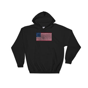 Retro Distressed Betsy Ross American Flag  graphic Unisex Hooded Sweatshirt