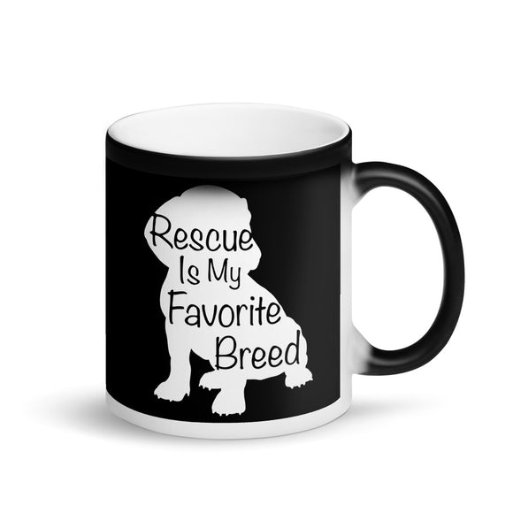 Rescue Dog Owner Rescue Is My Favorite Breed graphic Matte Black Magic Mug