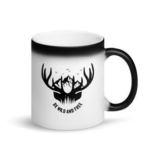 Be Wild And Free Mountains Birds and Whitetail Deer design Matte Black Magic Mug