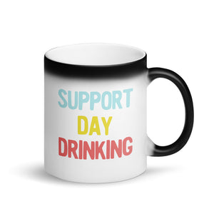Support Day Drinking Vintage Retro 90s Style Party Design design Matte Black Magic Mug