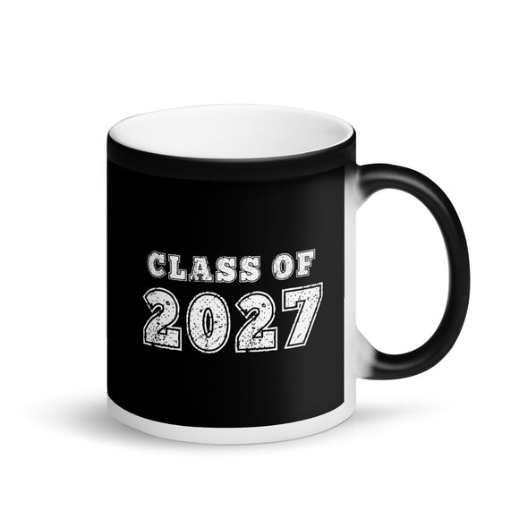 Class of 2027 Distressed Back To School print Matte Black Magic Mug
