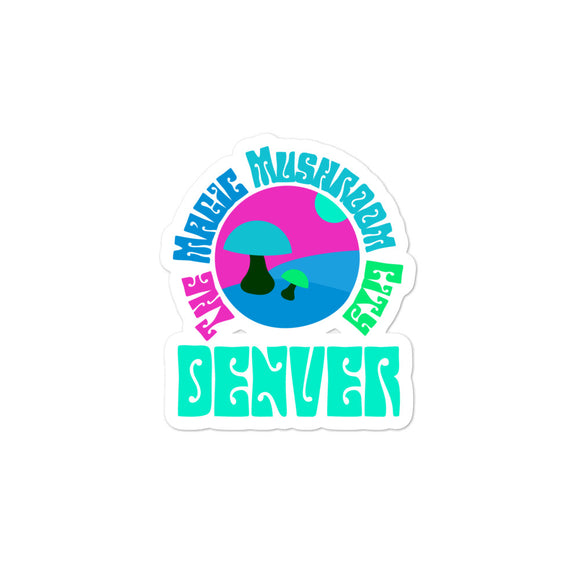The Magic Mushroom City Denver Colorado Retro Style Graphic design Bubble-free stickers