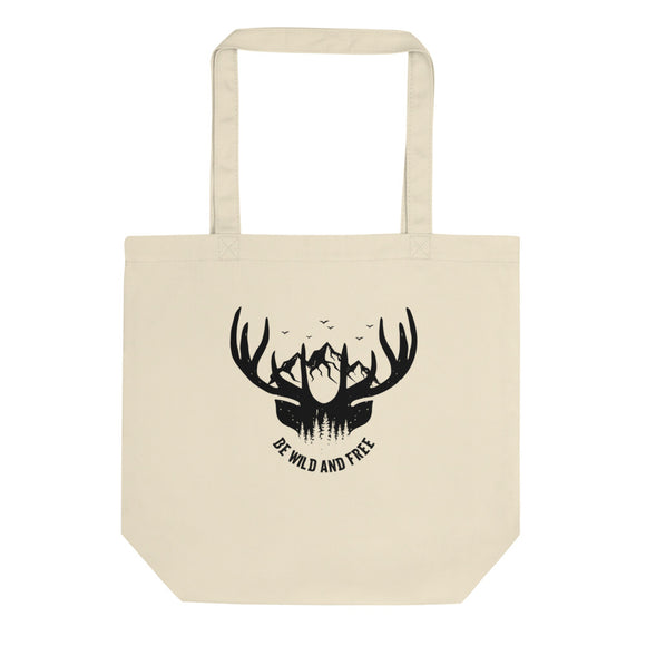 Be Wild And Free Mountains Birds and Whitetail Deer design Eco Tote Bag