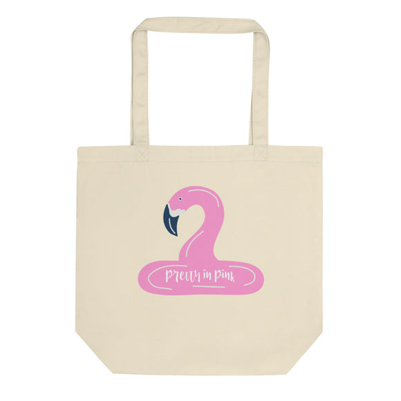 Pretty in Pink Flamingo Breast Cancer Awareness Graphic print Eco Tote Bag