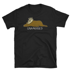 Lazy Unamoosed Unamused Moose print Pun Short-Sleeve Unisex T-Shirt
