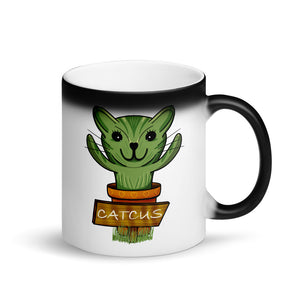 Catcus Cat Cactus design Matte Black Magic Mug