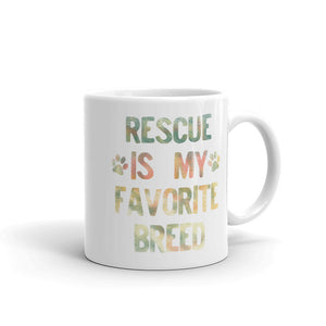Rescued Dog Rescue Is My Favorite Breed Rainbow Distressed  graphic Mug