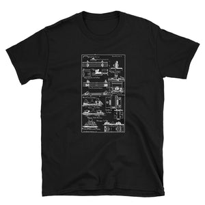 Vintage Railroad Track Anchors Tie Plates Patent Drawing Short-Sleeve Unisex T-Shirt
