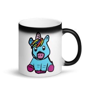 Cute Unicorn design for Girls Hand Drawn Graphic product Matte Black Magic Mug