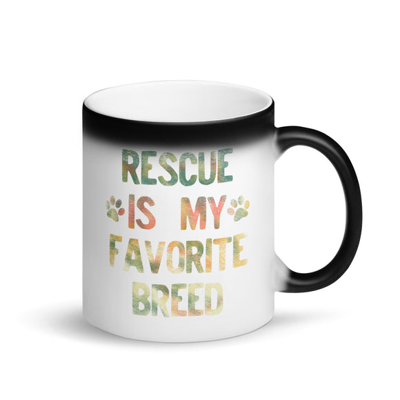 Rescued Dog Rescue Is My Favorite Breed Rainbow Distressed  graphic Matte Black Magic Mug
