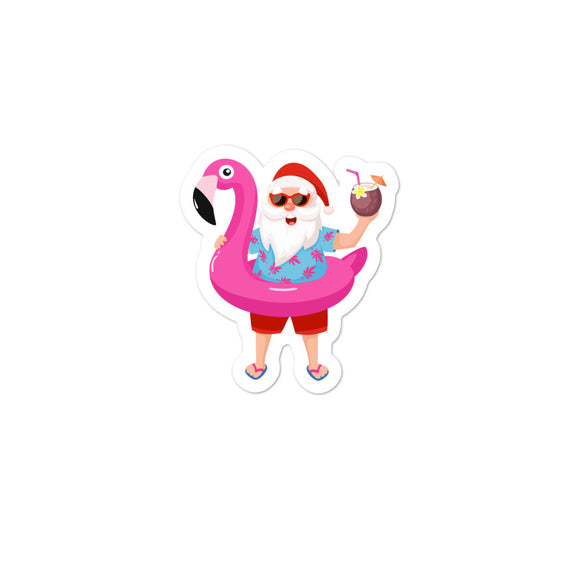 Santa Claus on Christmas Vacation With a Pink Flamingo graphic Bubble-free stickers