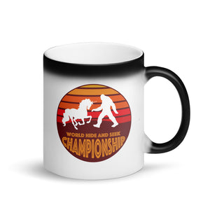 Unicorn Bigfoot Sasquatch World Hide and Seek Championship Matte Black Magic Mug
