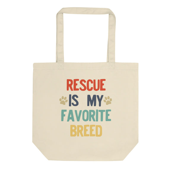 Rescued Dog Rescue Is My Favorite Breed Retro Vintage Style design Eco Tote Bag