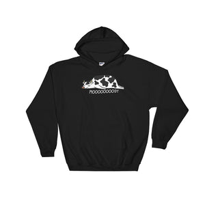 Lazy Moody Cow graphic Pun Hoodie