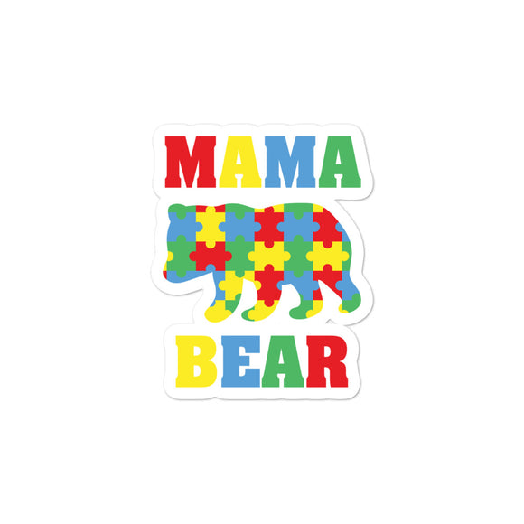 Mama Bear Autism Awareness Puzzle Pieces Bubble-free stickers
