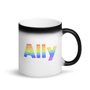 Straight Ally design For LGBT Pride Supporters Matte Black Magic Mug