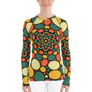 Retro Peace and Tranquility Vintage Zen Stone Garden Women's Rash Guard