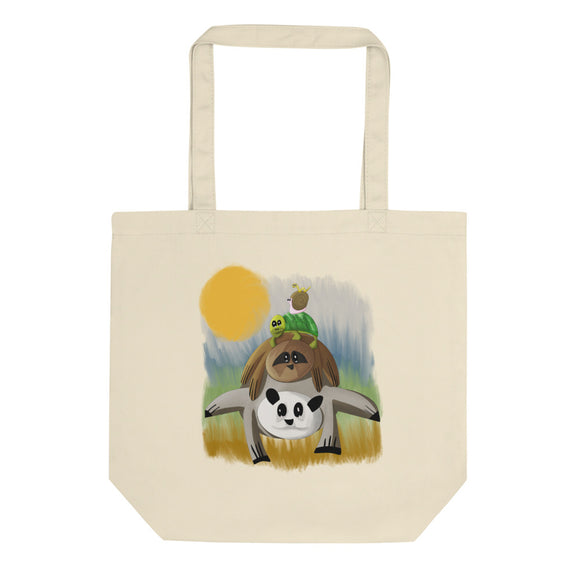 Funny Panda Sloth Turtle Snail Inch Worm Graphic design Eco Tote Bag