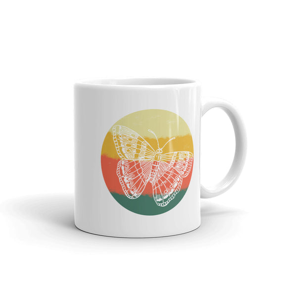 Retro Butterfly Hand Drawn Graphic Vintage Style design Mug