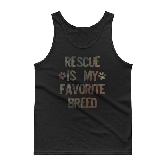 Rescued Dog Rescue Is My Favorite Breed Faded Rainbow  graphic Tank top